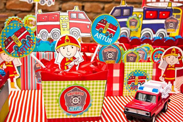 decoração festa infantil tema bombeiro