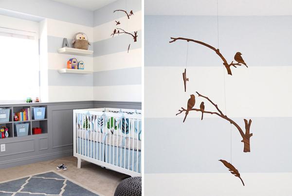 quarto de bebê azul e cinza