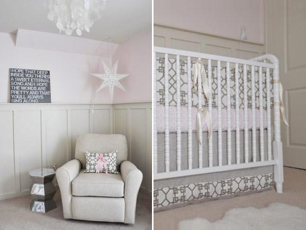 quarto de bebê decoração rosa e cinza