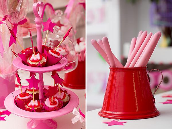festa infantil esquiletes vermelho rosa