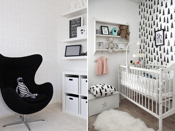 Quartos de bebê em preto e branco Constance Zahn  ~ Quarto Preto E Branco Simples