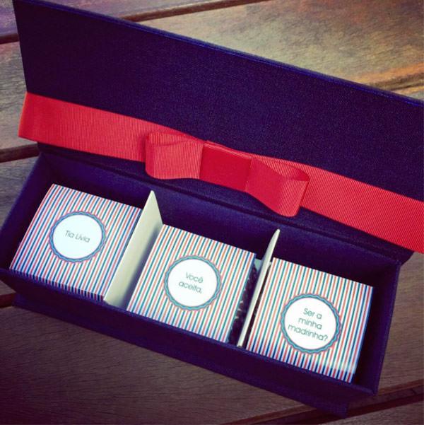 Caixa personalizada da Jeniffer Bresser com pães de mel da Danielle Andrade