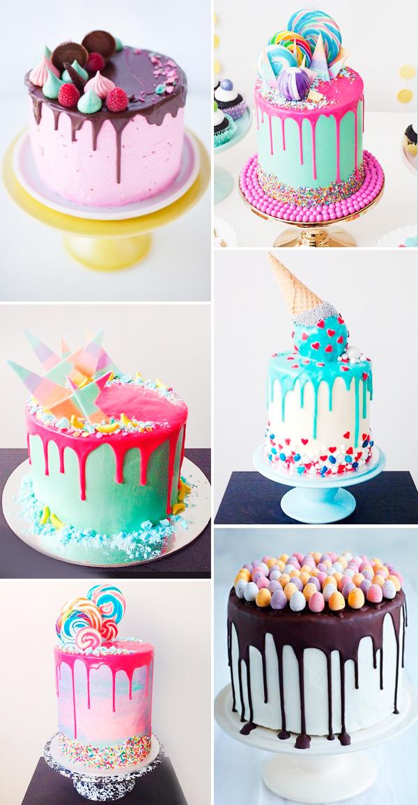 16 drip cakes para a festa infantil