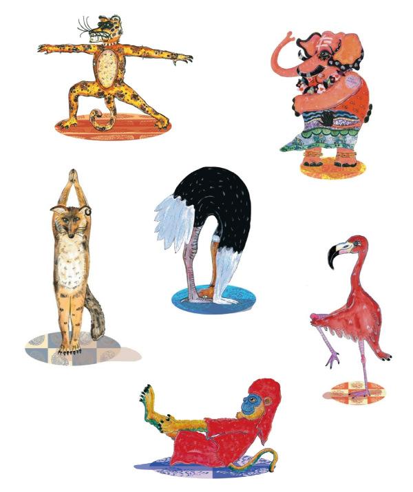 """Algumas das lúdicas ilustrações do gaúcho João Caré , presentes no livro """"Aprendendo com os Bichos - Yoga para Crianças"""""""