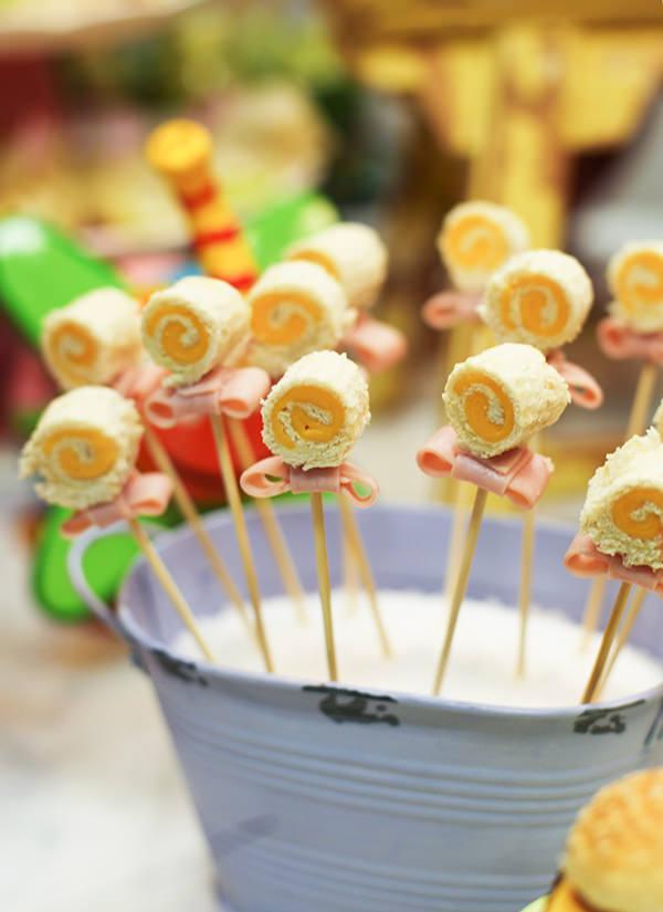 Lollipop de presunto e queijo