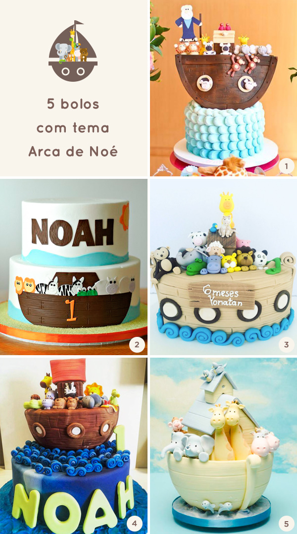 5 bolos com tema Arca de Noé
