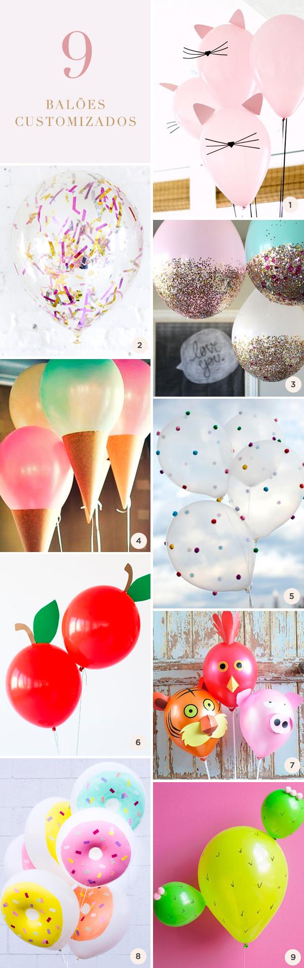 9 balões customizados para a festa infantil
