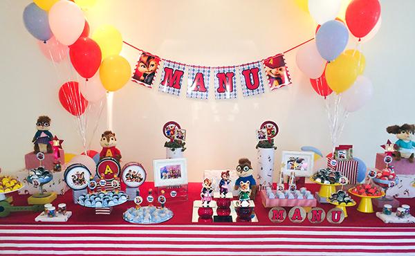 Aniversário com tema Alvin e os Esquilos
