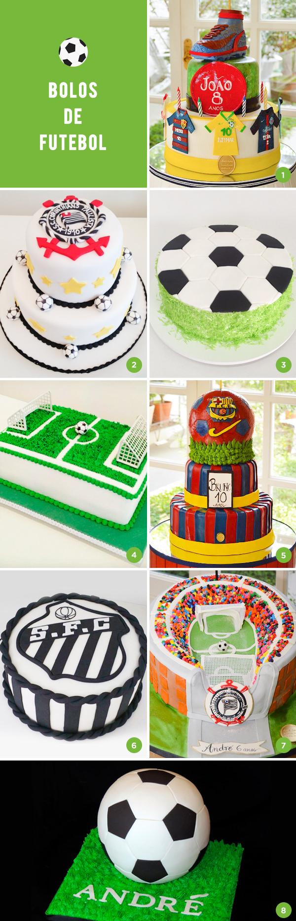 8 bolos de futebol para a festa infantil