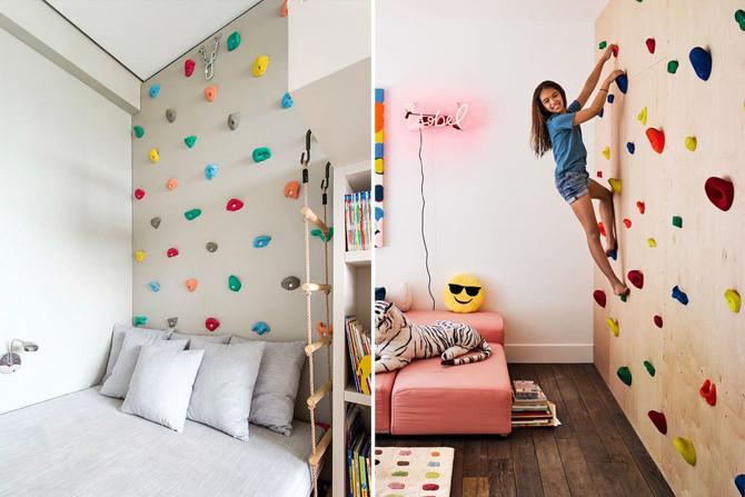 7 quartos infantis com parede de escalada para os pequenos atletas