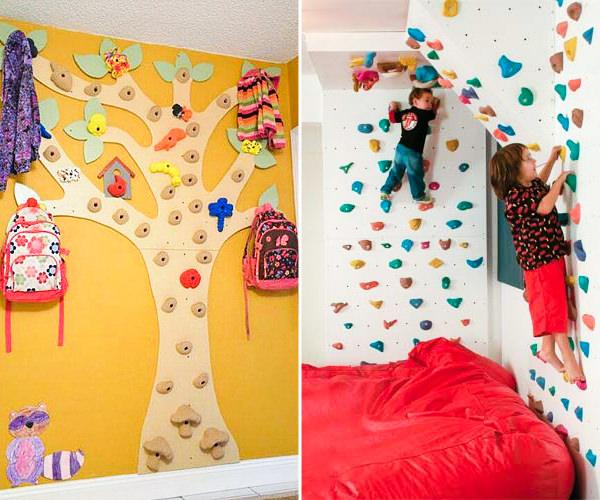 Quarto infantil com parede de escalada
