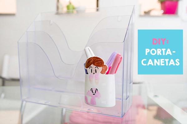 DIY: porta-canetas com embalagem de shampoo